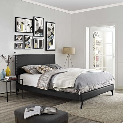 Hervey Upholstered Platform Bed Color: Black, Size: Full