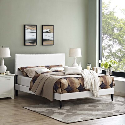 Hervey Upholstered Platform Bed Color: White, Size: Twin