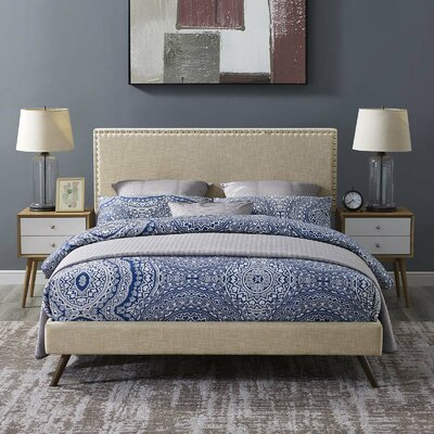 Hervey Upholstered Platform Bed Color: Beige, Size: Twin