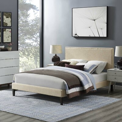 Hervey Upholstered Platform Bed Color: Beige, Size: Queen