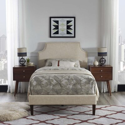 Hertzler Upholstered Platform Bed Color: Beige, Size: Queen