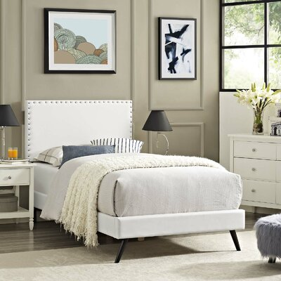 Hervey Upholstered Platform Bed Color: White, Size: King