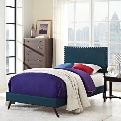 Hervey Upholstered Platform Bed Color: Azure, Size: Queen