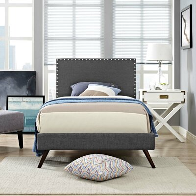 Hervey Upholstered Platform Bed Color: Gray, Size: Queen