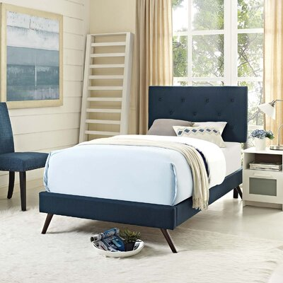 Perrinton�Upholstered Platform Bed Color: Azure, Size: Queen