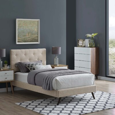 Perrinton�Upholstered Platform Bed Color: Beige, Size: Twin