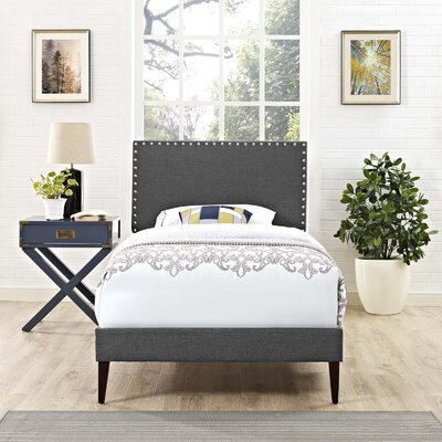 Hervey Upholstered Platform Bed Color: Gray, Size: Twin