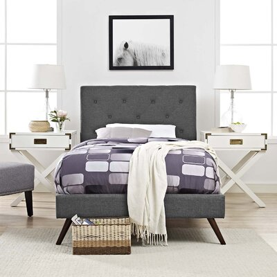 Perrinton�Upholstered Platform Bed Color: Gray, Size: Queen