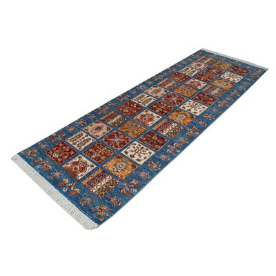 One-of-a-Kind Jeramiah Hand-Knotted Wool Blue/Red Area Rug