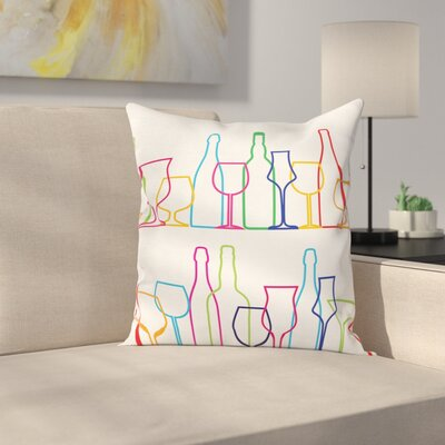 Wine Outline Bottles Square Pillow Cover Size: 16 x 16