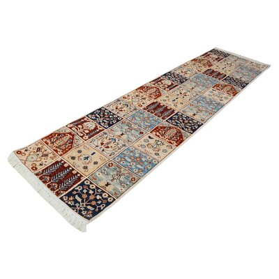 One-of-a-Kind Jeramiah Hand-Knotted Wool Ivory/Blue/Red Area Rug