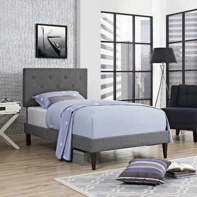 Perrinton Upholstered Platform Bed Color: Gray, Size: Full