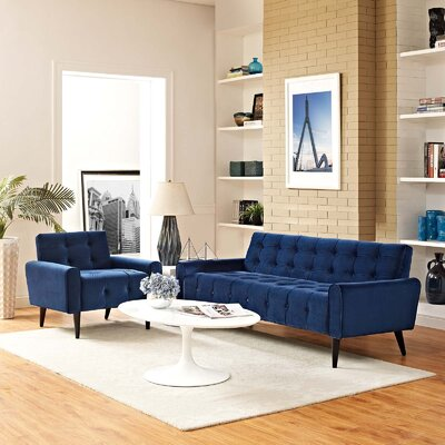 Hallett 2 Piece Living Room Set Color: Navy