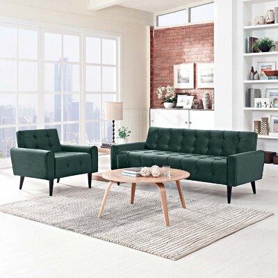 Hallett 2 Piece Living Room Set Color: Green