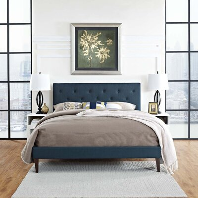 Perrinton Upholstered Platform Bed Color: Azure, Size: Queen