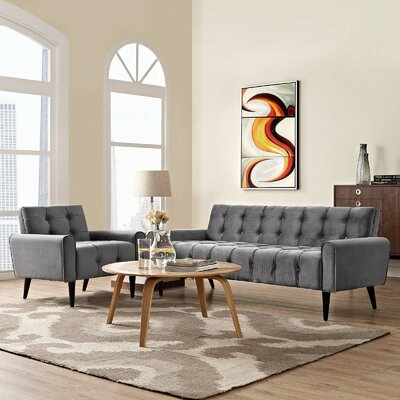 Hallett 2 Piece Living Room Set Color: Gray