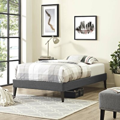 Eisenbarth Upholstered Platform Bed Color: Gray, Size: Twin