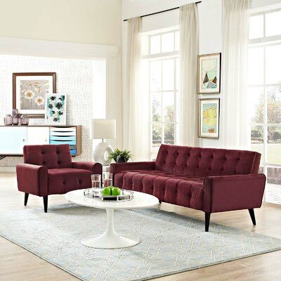 Hallett 2 Piece Living Room Set Color: Maroon