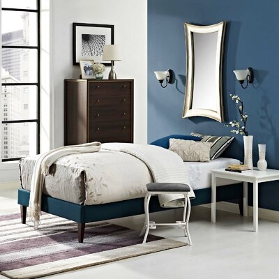 Eisenbarth Upholstered Platform Bed Color: Azure, Size: Twin