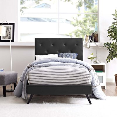 Perrinton�Upholstered Platform Bed Color: Black, Size: Queen