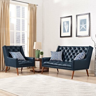 Mcwilliams 2 Piece Living Room Set Upholstery: Blue