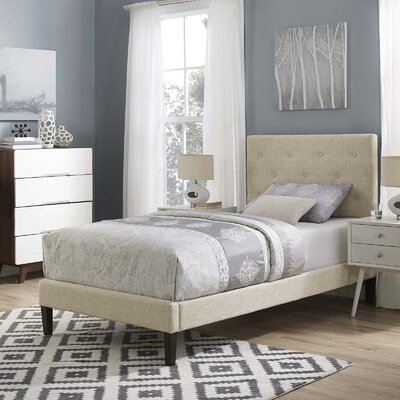 Perrinton Upholstered Platform Bed Color: Beige, Size: Queen