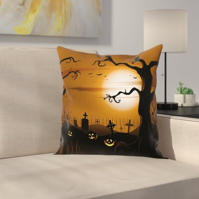 Halloween Decor Scary Cemetery Square Pillow Cover Size: 16 x 16