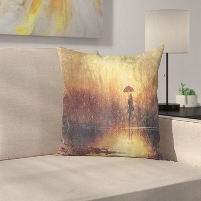 Modern Woman Under The Rain Square Pillow Cover Size: 18 x 18