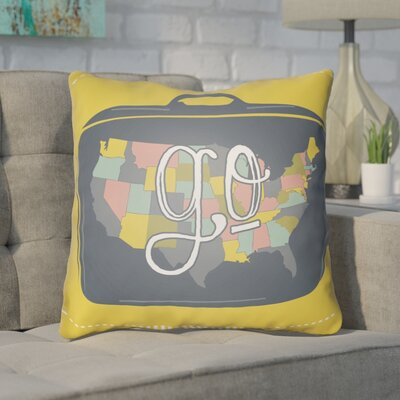 Bainum Go Throw Pillow Size: 22 H �x 22 W x 5 D, Color: Yellow