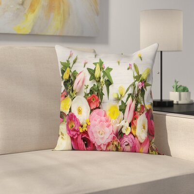 Wooden Rustic Home Rose Flowers Square Pillow Cover Size: 16 x 16