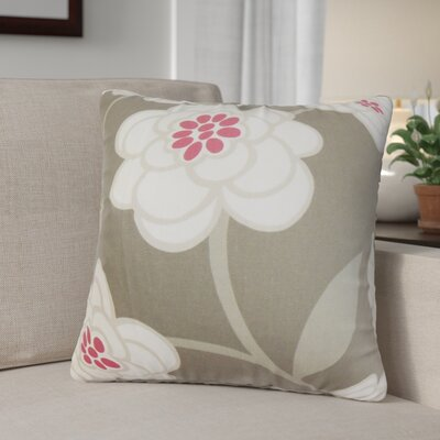 Parkstone Floral Cotton Throw Pillow Color: Dove, Size: 24 x 24