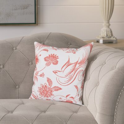 Cecilia Traditional Bird Throw Pillow Size: 18 H x 18 W, Color: Coral