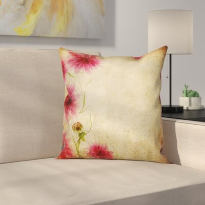 Retro Flowers Grungy Old Cushion Pillow Cover Size: 24
