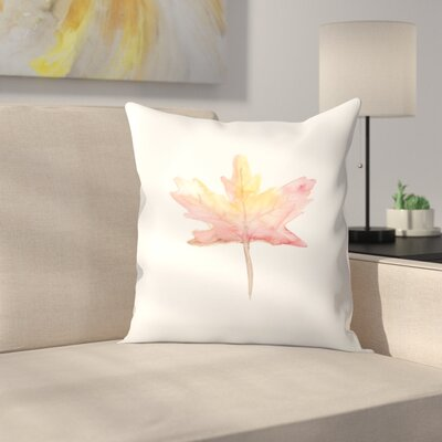 Jetty Printables Watercolor Autumnal Fall Leaf Throw Pillow Size: 16 x 16