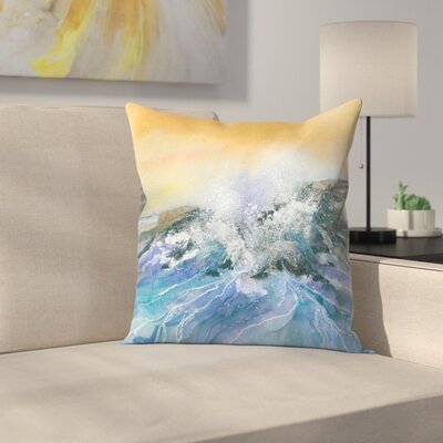 Crashing Surf Throw Pillow Size: 14 x 14