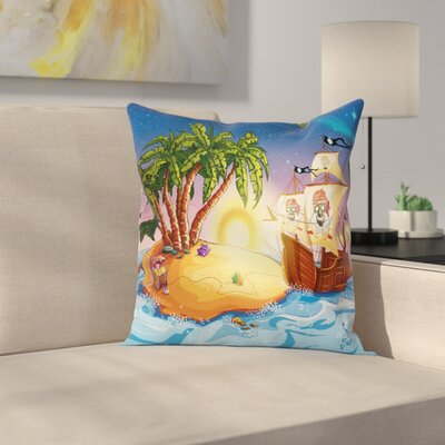 Pirate Ship Exotic Sea Island Square Cushion Pillow Cover Size: 16 x 16