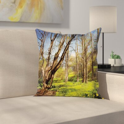 Spring Forest Flowers Square Pillow Cover Size: 24 x 24
