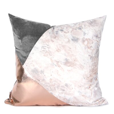 Dennett Three Color Pillow Cover Fill Material: Polyester/Polyfill, Color: Pink/Gray/Rose Gold