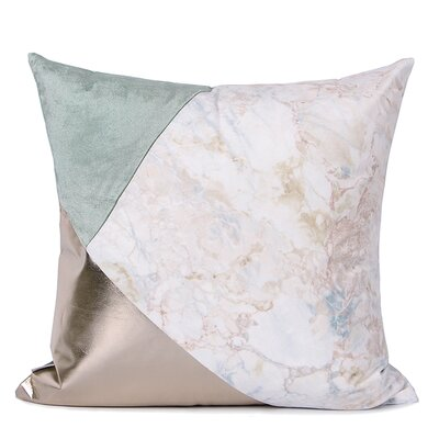 Dennett Three Color Pillow Cover Fill Material: Polyester/Polyfill, Color: Gray/Pink/Light Gold