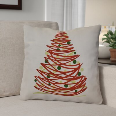 Christmas Tree Throw Pillow Size: 18 H x 18 W, Color: Red