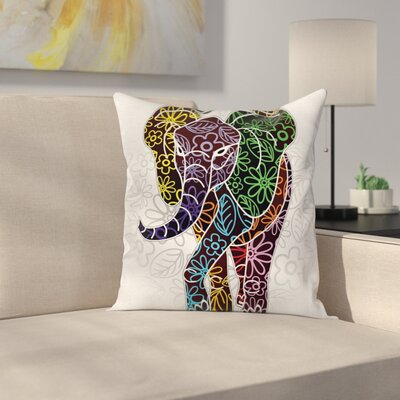Elephant Floral Tribal Shapes Square Pillow Cover Size: 16 x 16