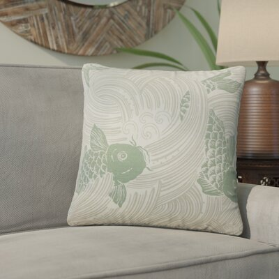 Yuriko Graphic Cotton Throw Pillow Color: Green