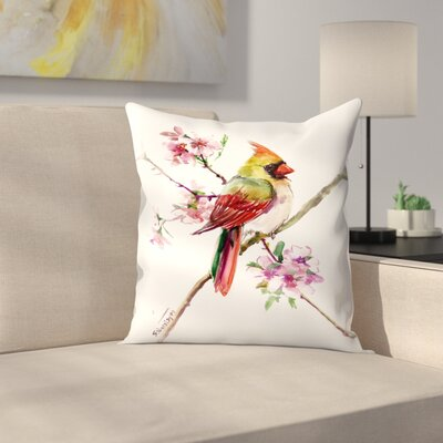 Caridnal Spring Tree Throw Pillow Size: 18 x 18