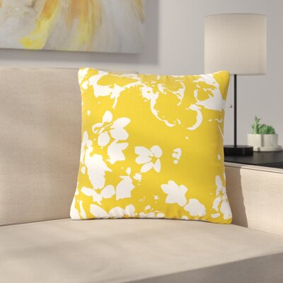 Love Midge Helena Floral Modern Outdoor Throw Pillow Size: 16 H x 16 W x 5 D, Color: Yellow/White