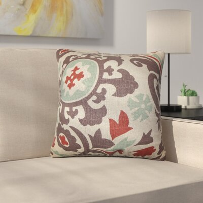 Stukes Floral Cotton Throw Pillow Color: Red