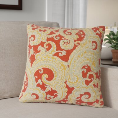 Zaritt Paisley Cotton Throw Pillow Color: Red