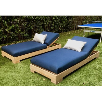 Teak Outdoor Reclining Chaise Lounge Cushion - Product photo