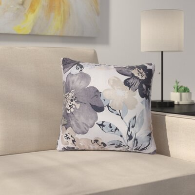 Piotrowski Flower Velvet Throw Pillow Color: Blue