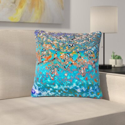 Li Zamperini Multicolor Mandala Art Abstract Outdoor Throw Pillow Color: Turquoise, Size: 16 H x 16 W x 5 D