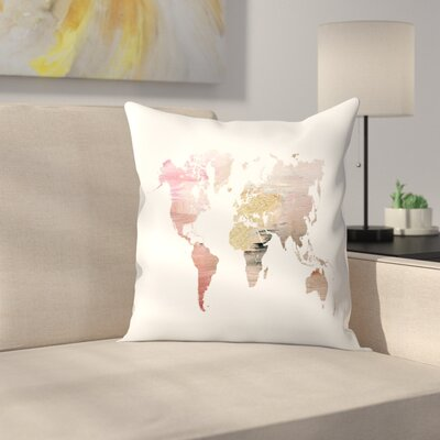 Pink World Map Throw Pillow Size: 16 x 16